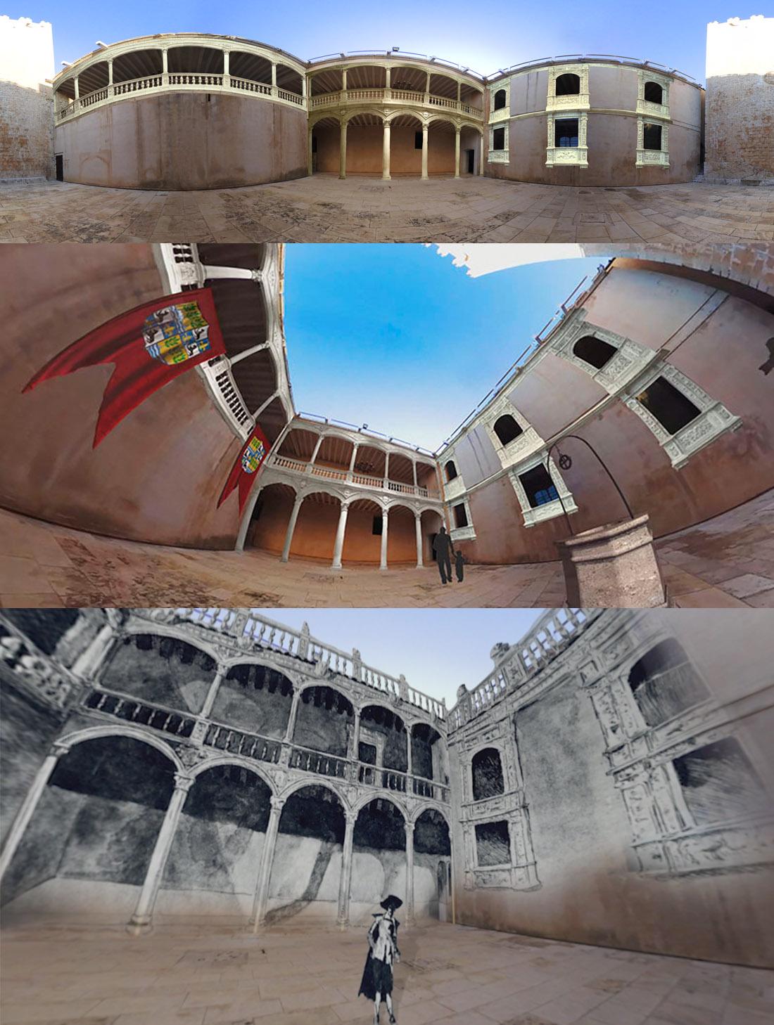 Castillo de Vélez Blanco (Almería). Vista desplegada de la superposición de elementos al patio y dos vista 360 del audiovisual.