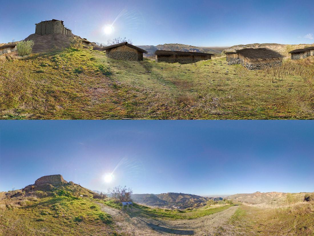 Cerro de la Encina. Monachil (Granada). Bastión, zona de viviendas e integración del paisaje.
